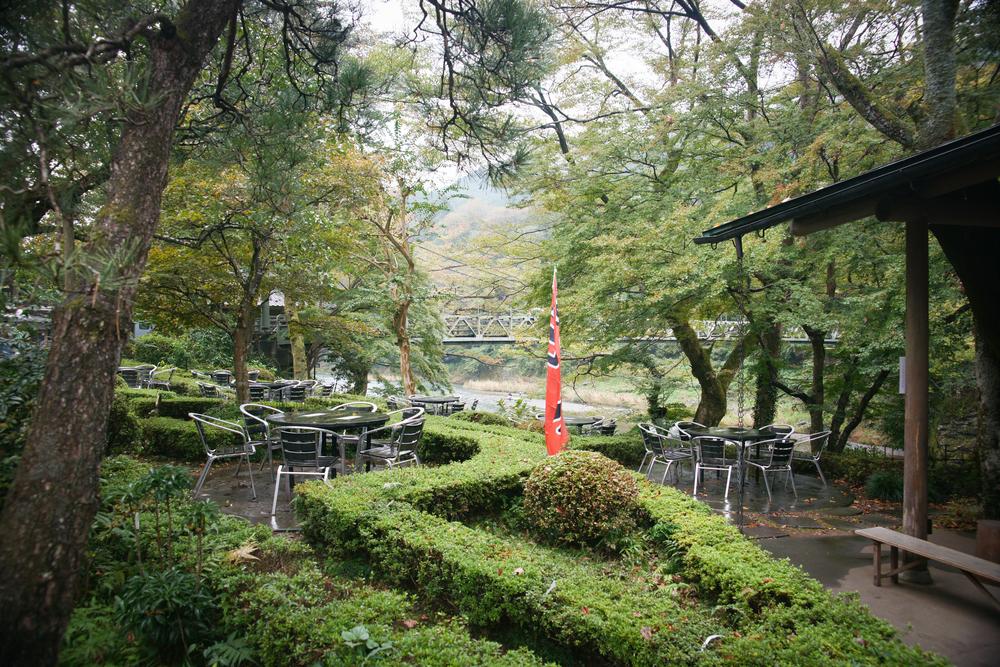 Outdoor seating at Ozawa Shuzo Co.