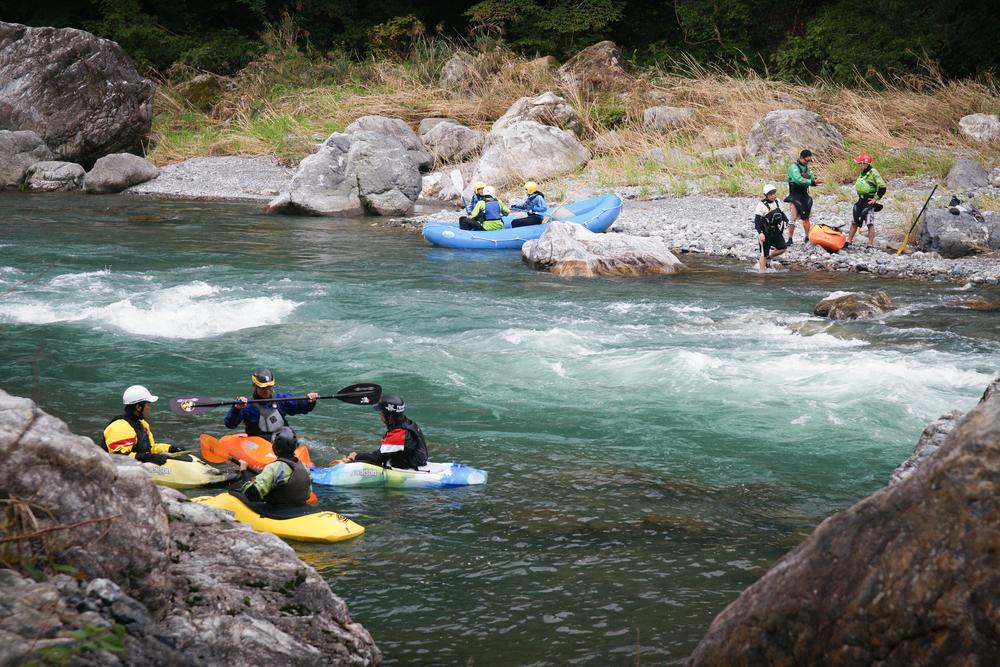 Kayakers on Tama River