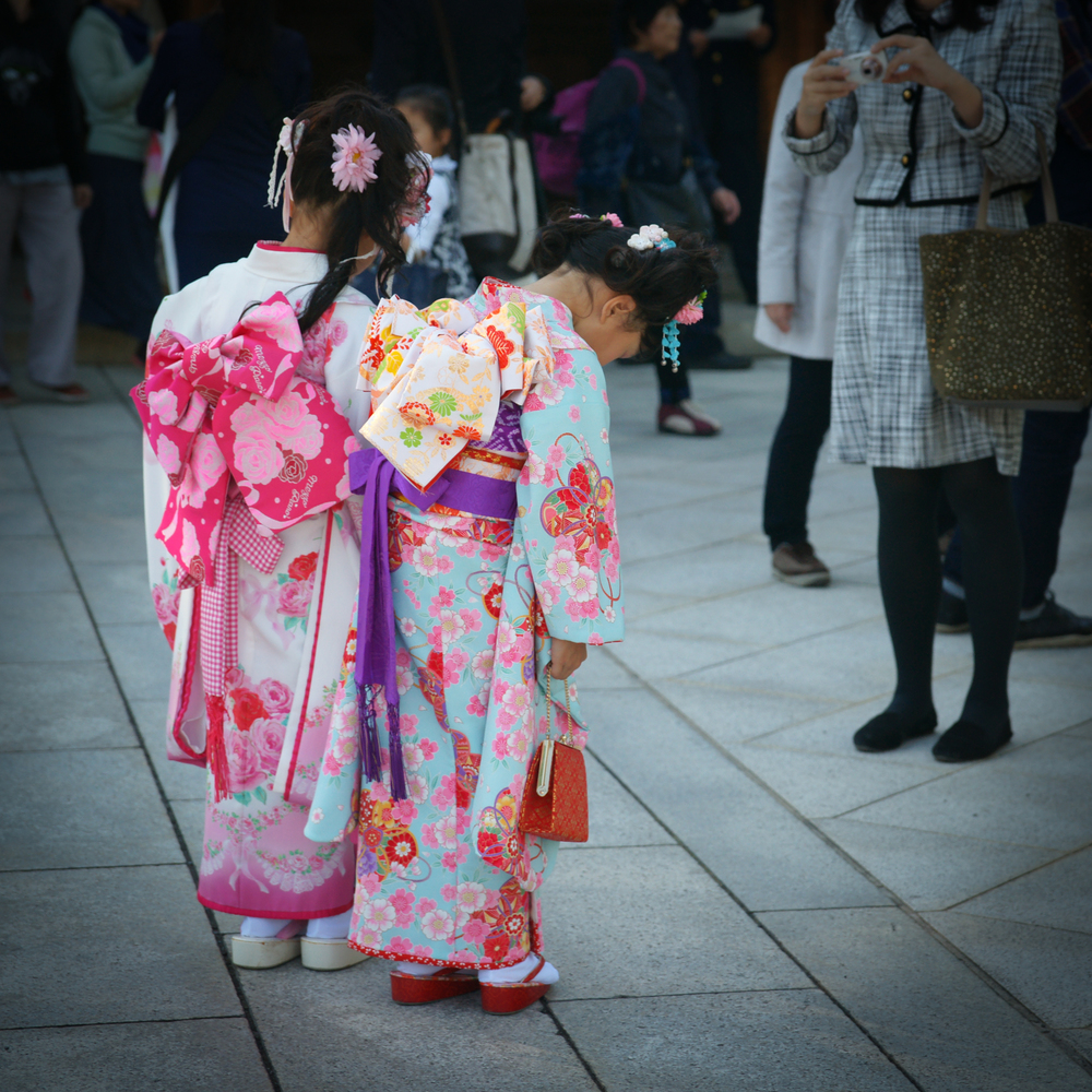 Young girls in kimonos for ceremony