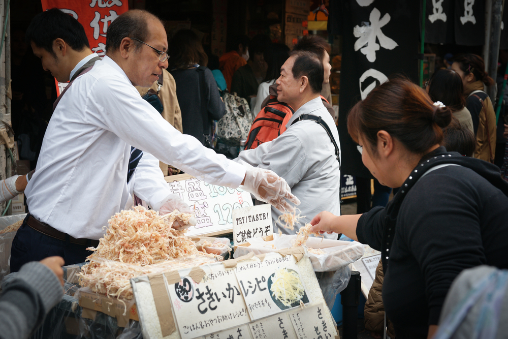 Vendor selling dried squid