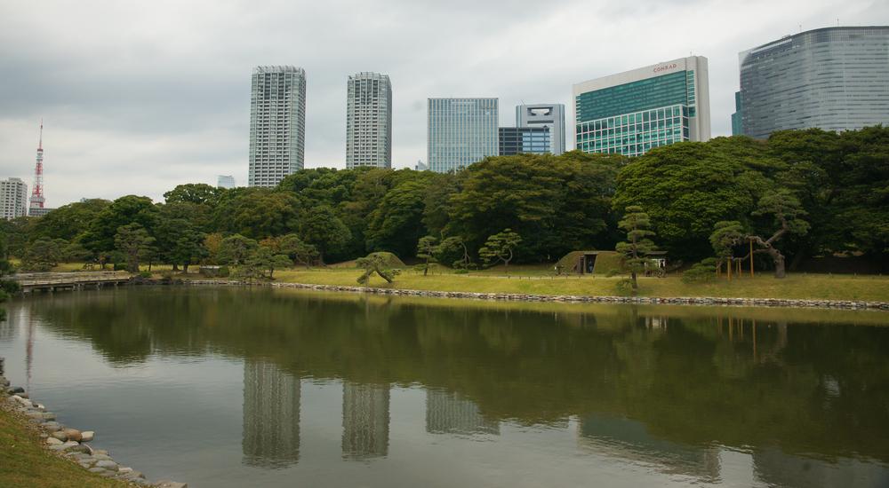 Inside the Hama-rikyu Gardens near the fish market