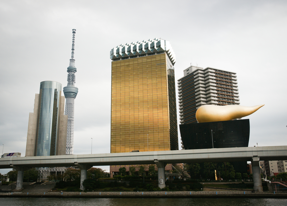 """Gold Asahi Building and """"flame"""", Sky Tree in the back"""