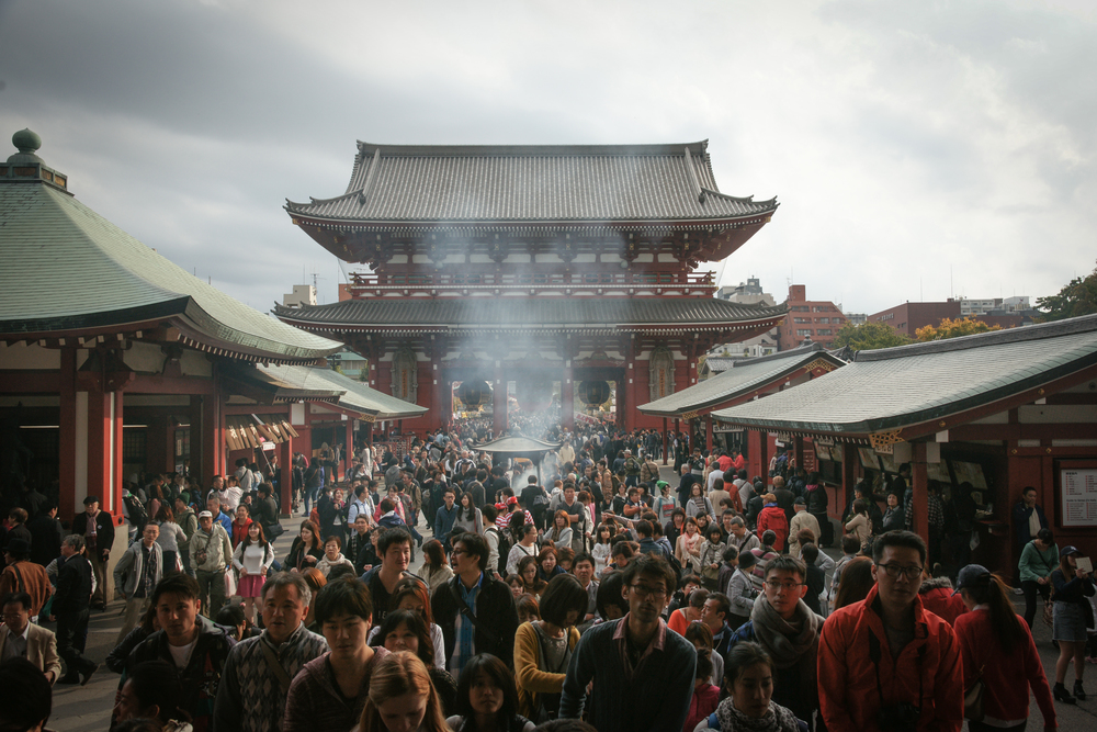 Crowds of people at the temple