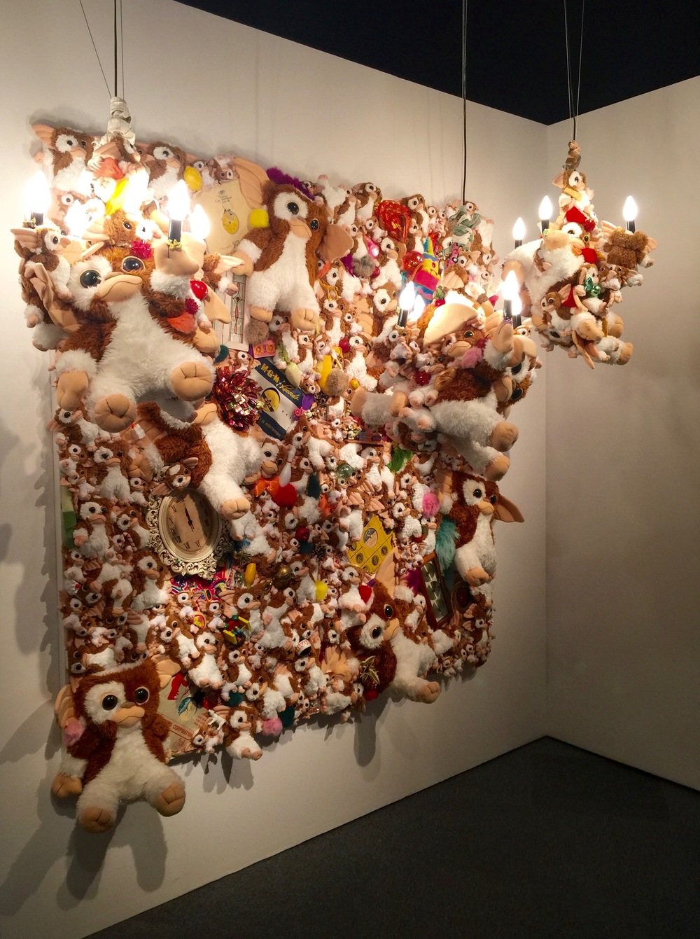Gizmo wall piece and chandeliers