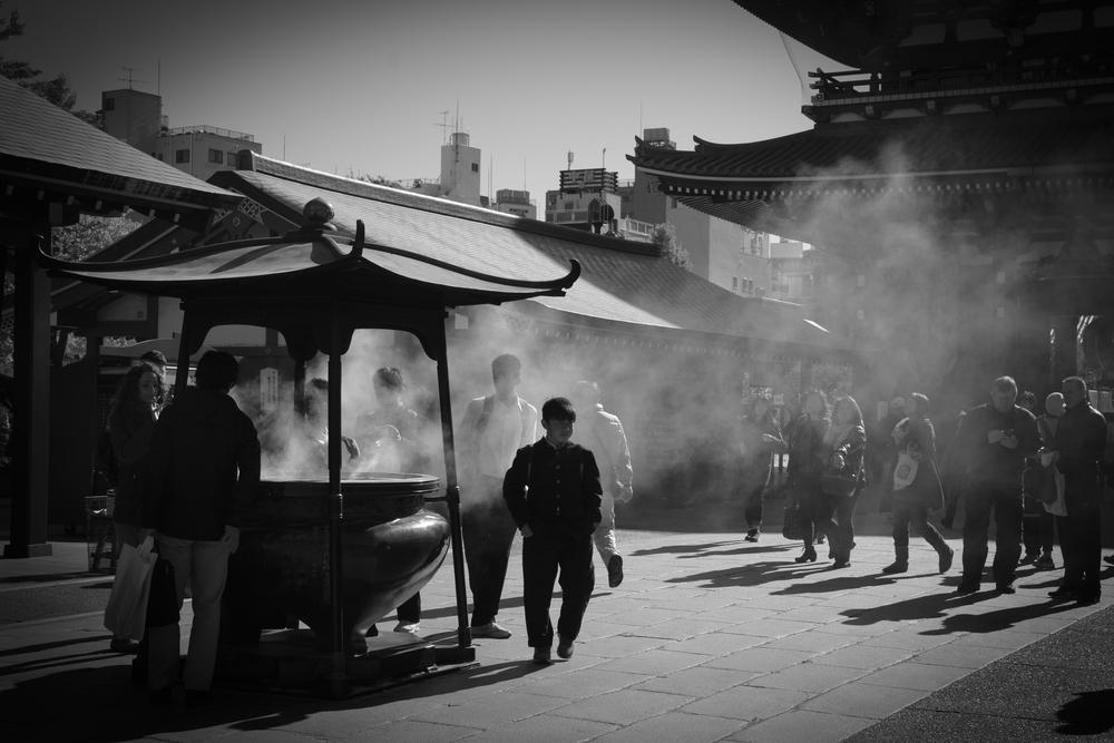 Incense smoke filling the air