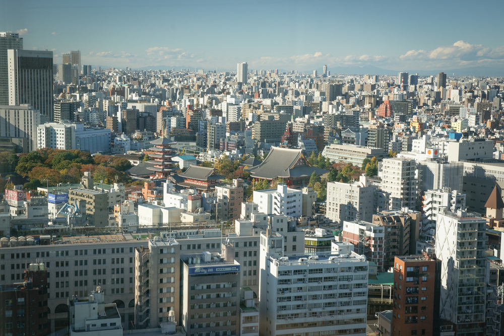 View of Senso-ji from 22nd floor of Asahi Building