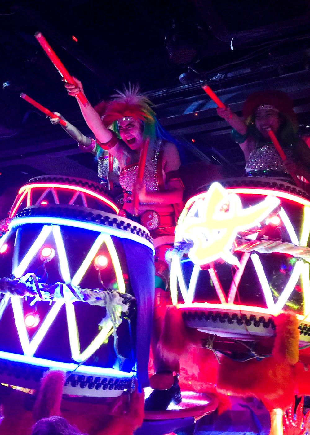 Neon taiko drumming