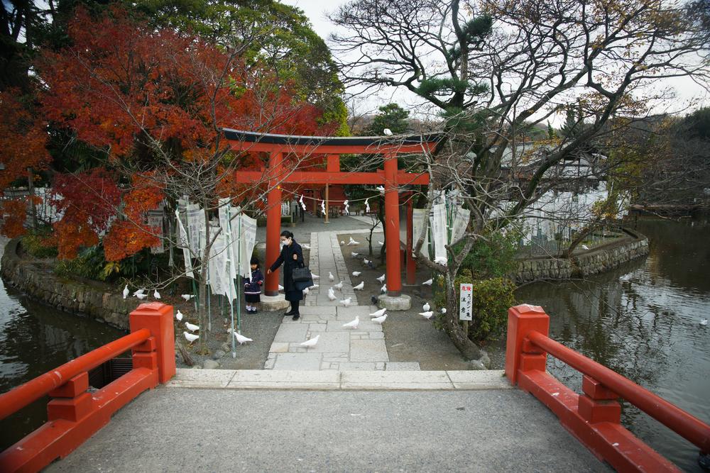 Tori gate to a small shrine at Tsurugaoka Hachimangu