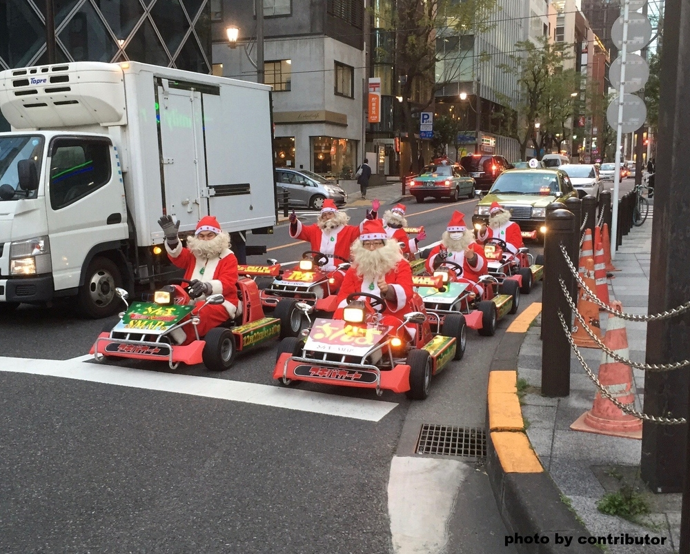 Go-karting Santas?...I don't know why.