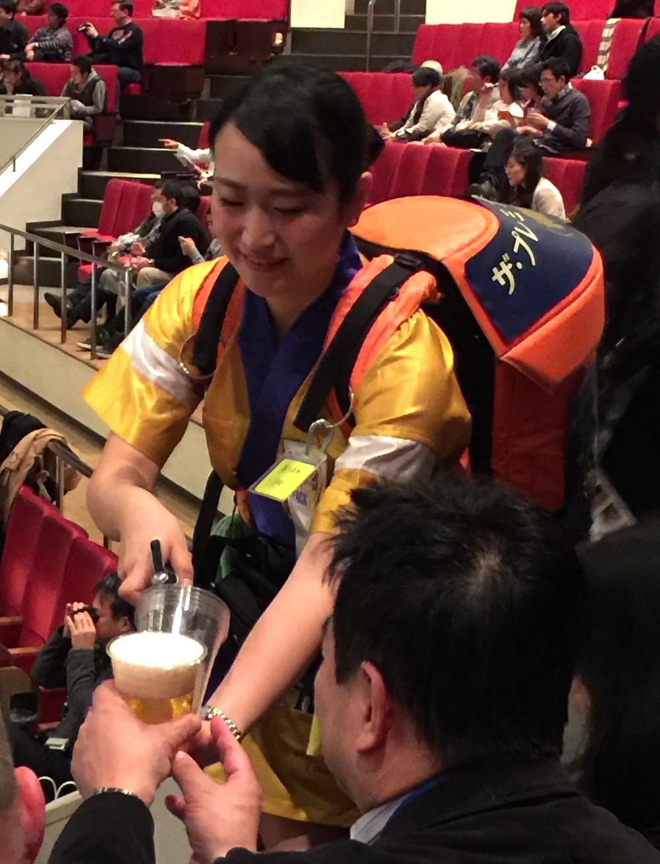 """beer girl"" with backpack beer dispenser!"