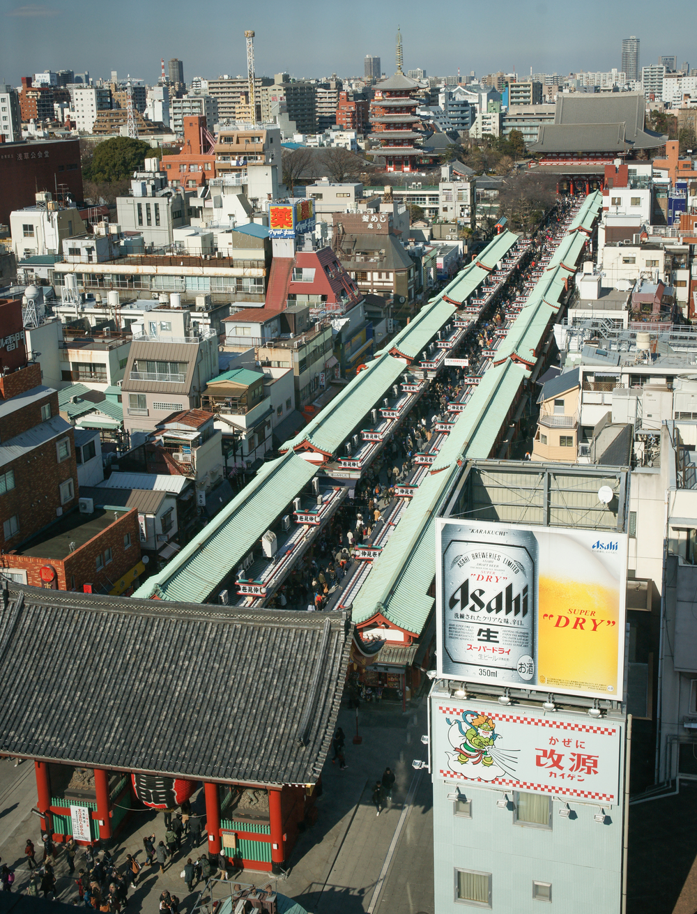 overview of Nakamise shopping street leading to temple