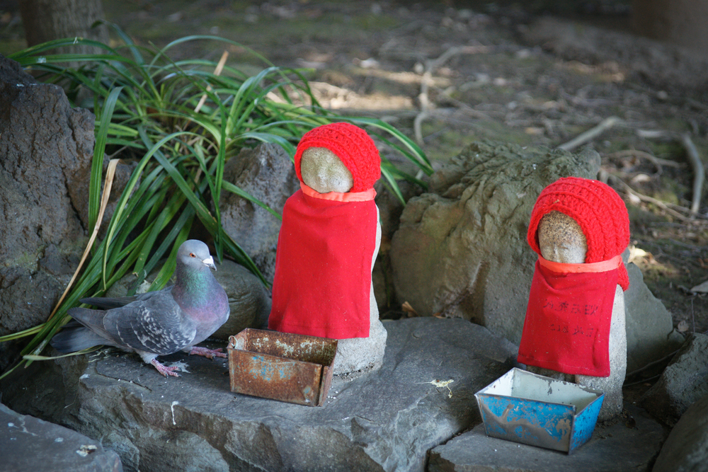 More Jizo, wearing red bibs and hats