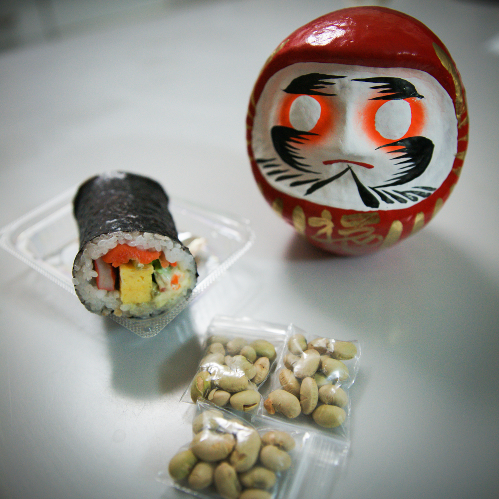 my futomaki, beans, and new dharma doll
