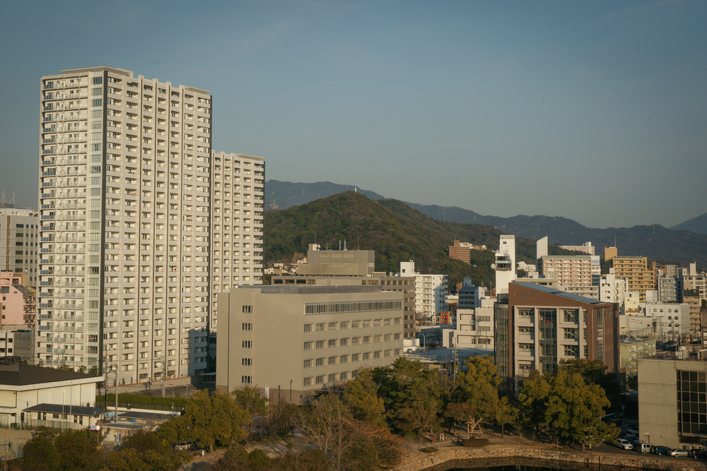 View of Hiroshima from top level of the castle