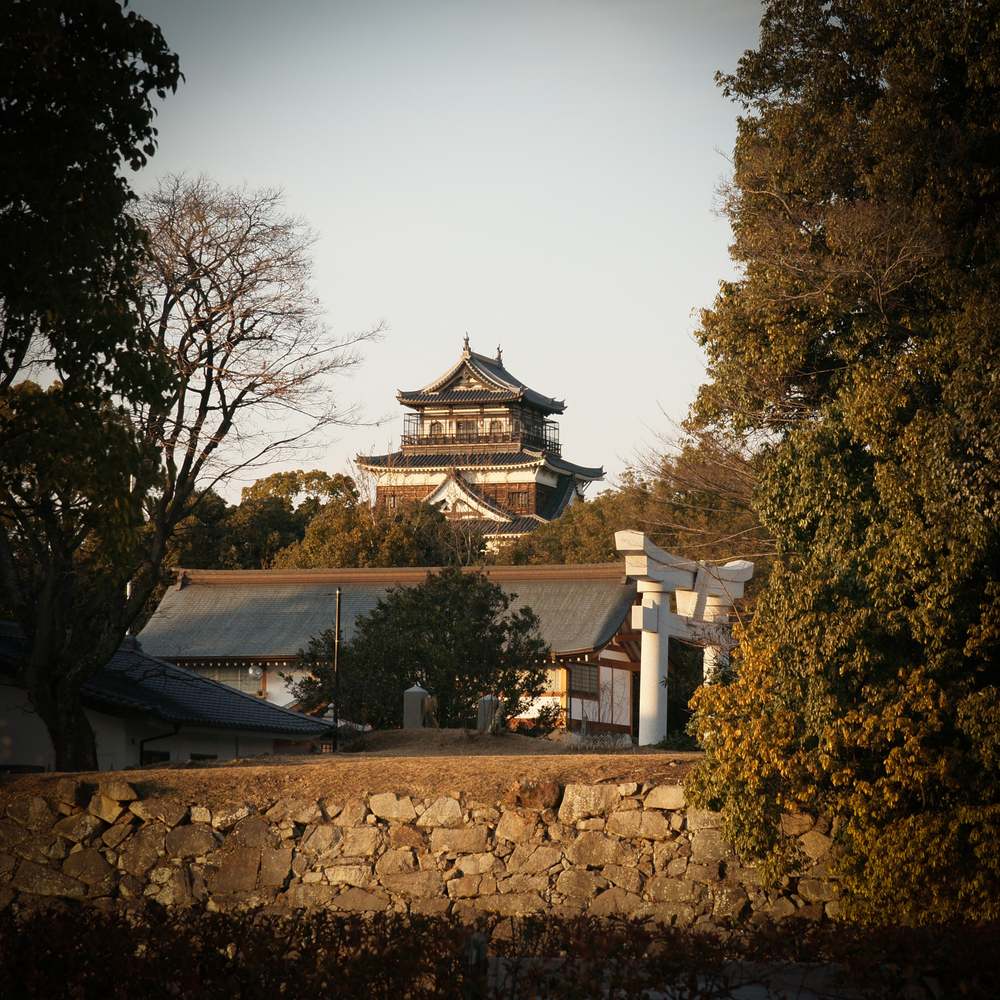 View of Hiroshima Castle after entering the main gate