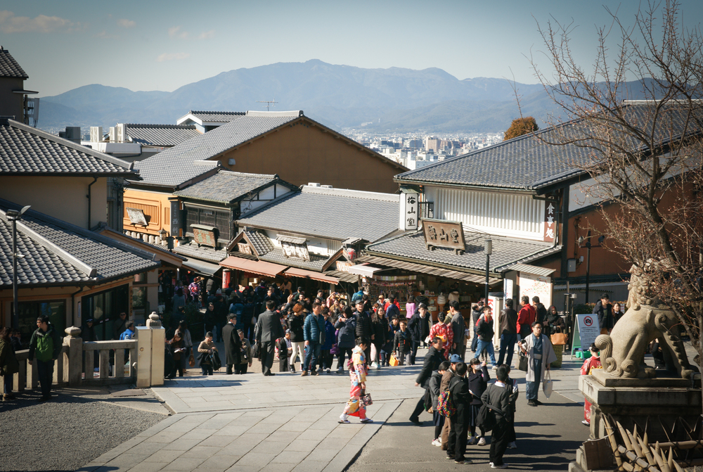 Main street leading to Kiyomizu-dera, lots of shops
