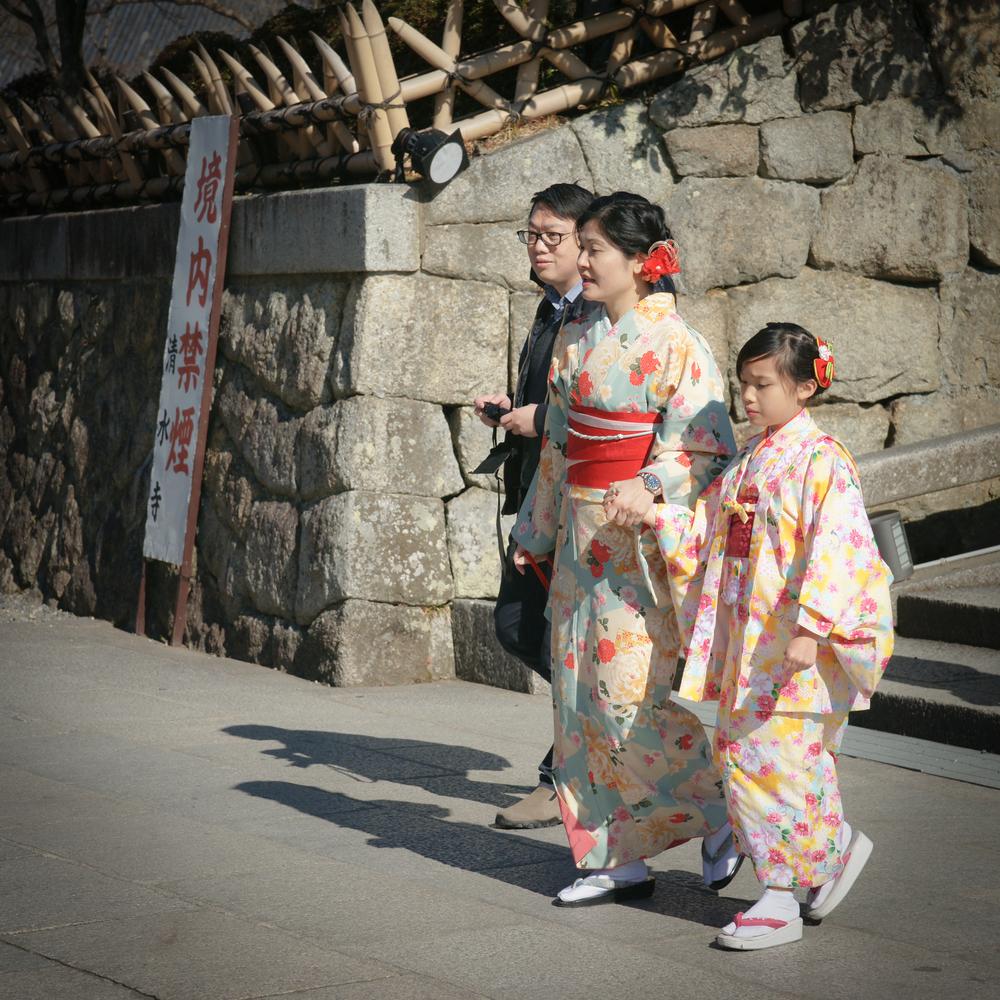 Tourists dressed in Kimono