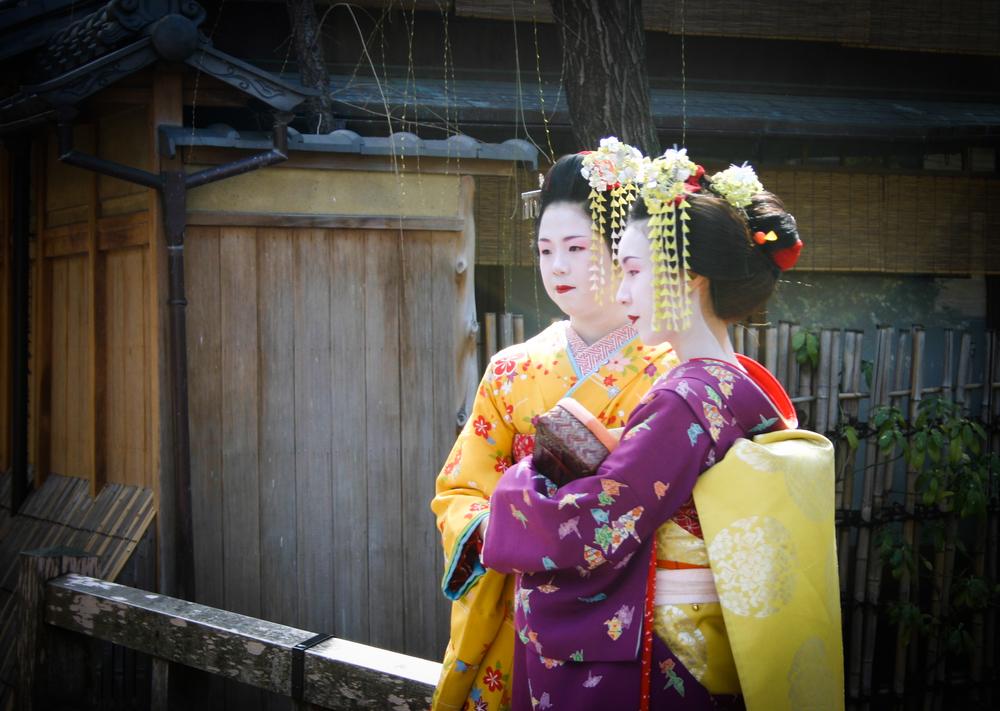 Geisha posing in Gion