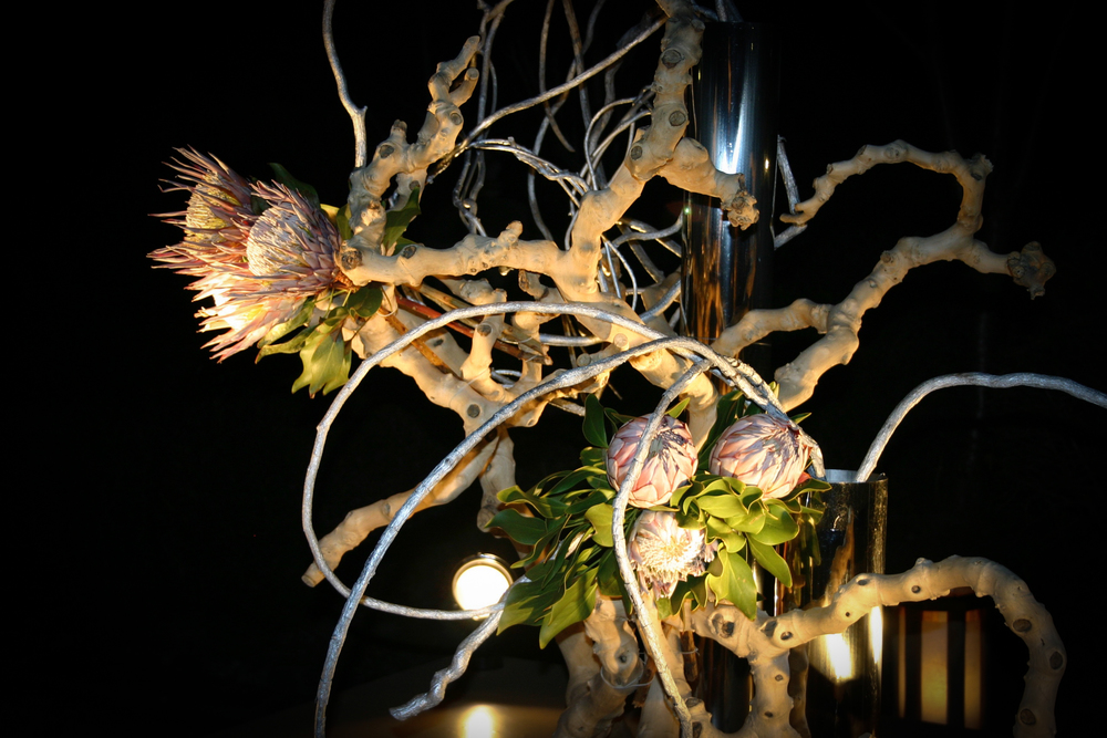 Ikebana display at night, Yasaka Shrine