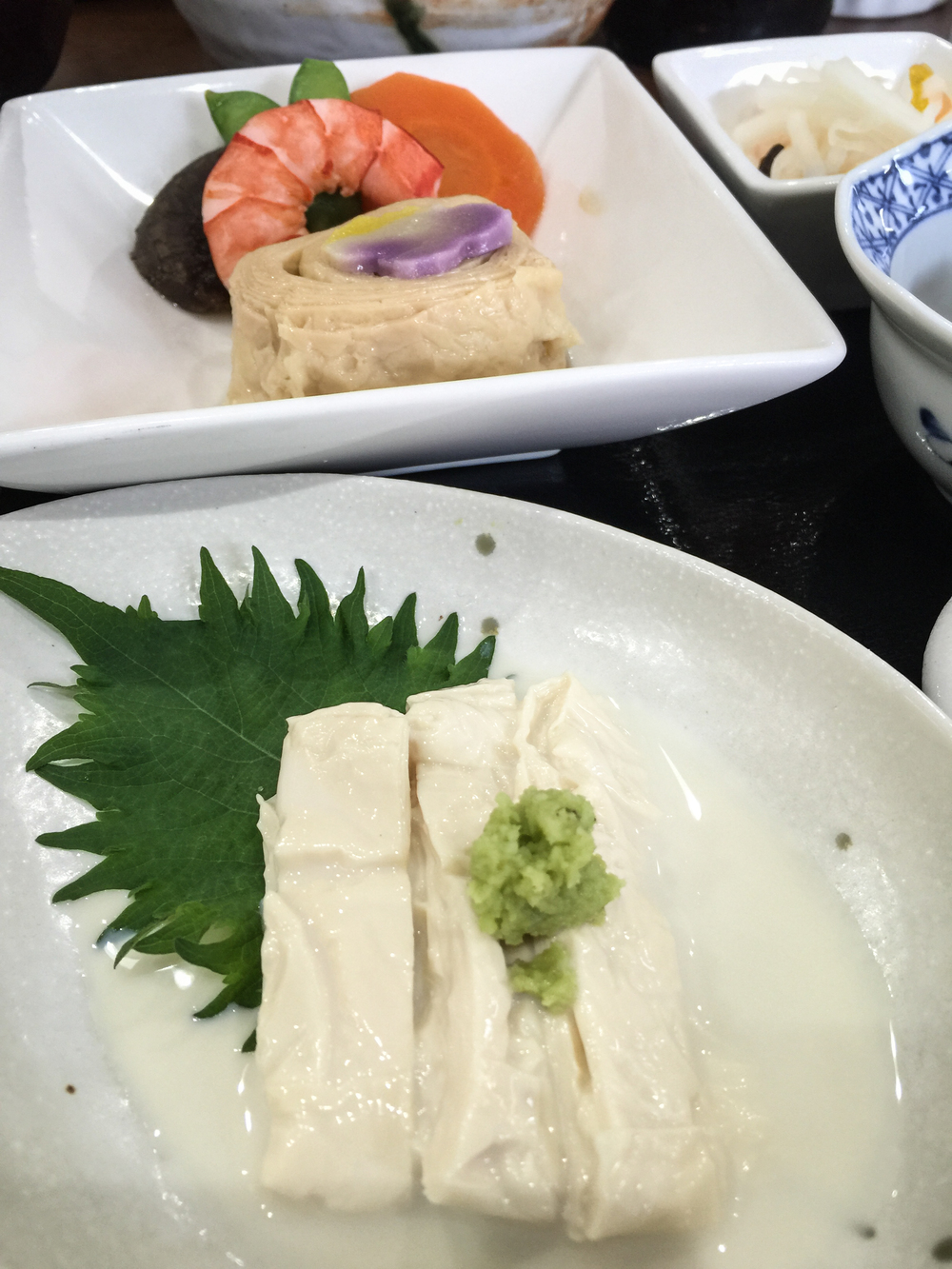 Sliced Yuba with wasabi