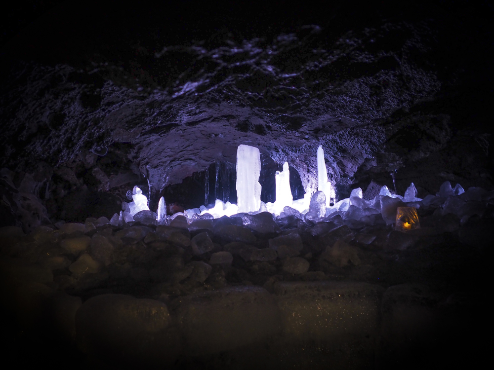 Ice displays in the cave