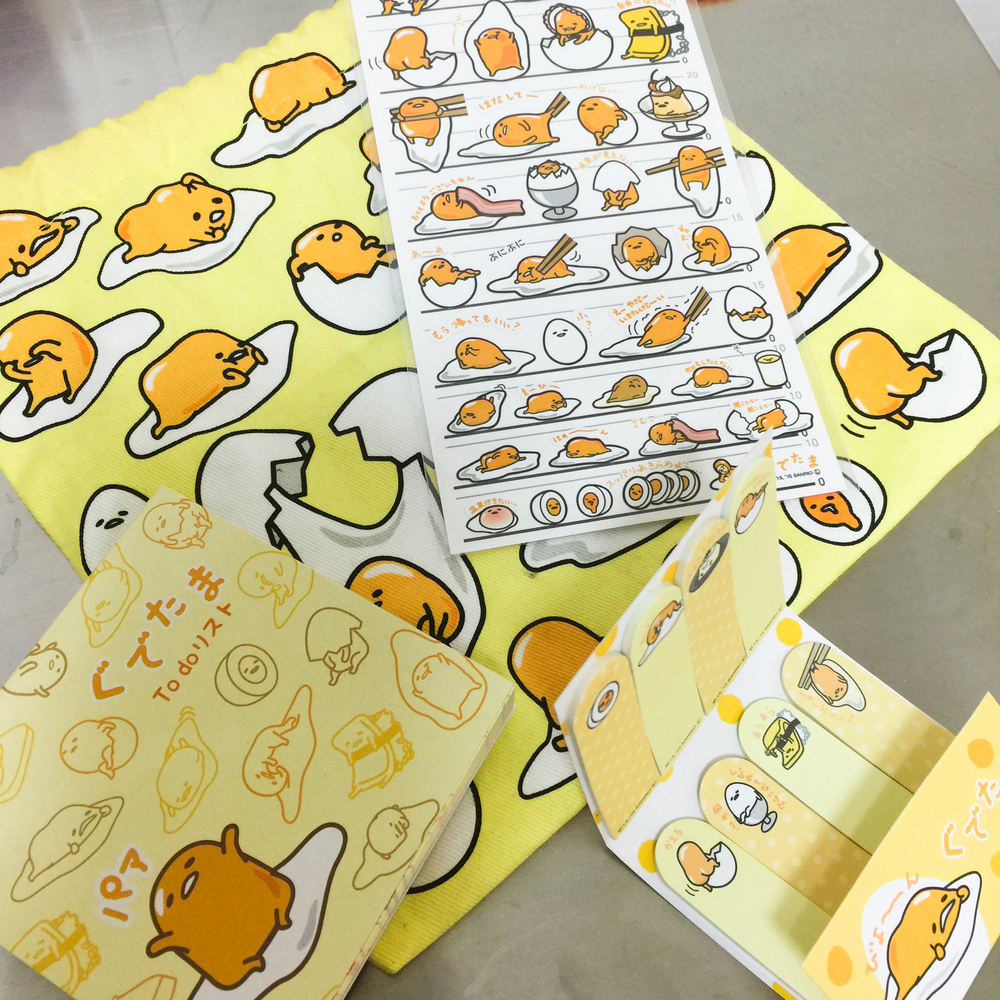 Part of my stash of Gudetama 'stuff'