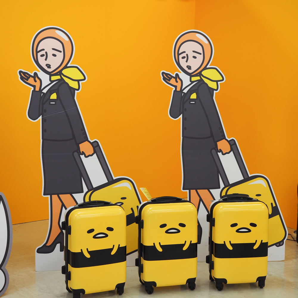 cute Gudetama suitcases (available for purchase of course)
