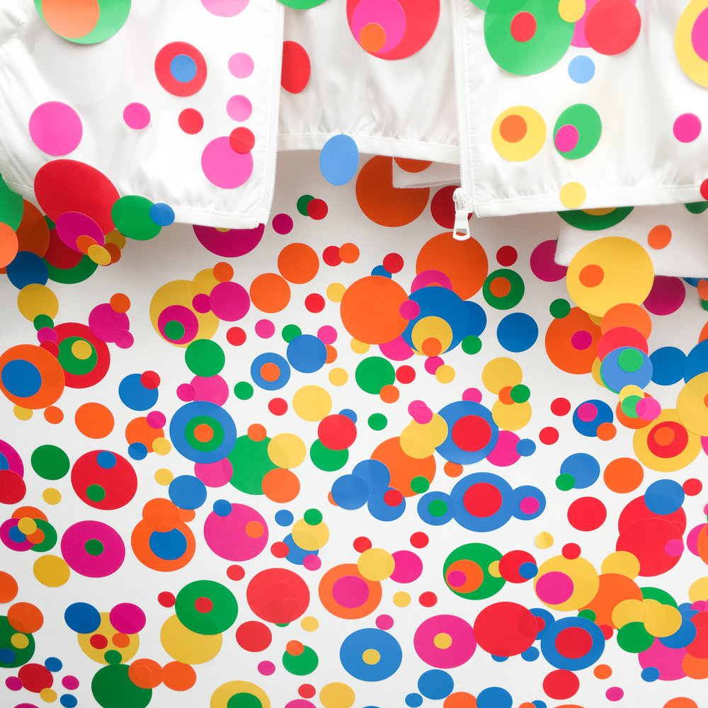 close up of the polka dot sticker room