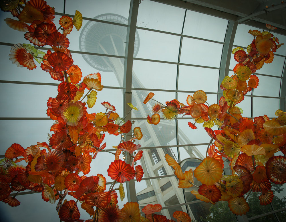 Chihuly Glass in Atrium & Space Needle