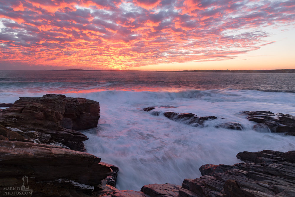 A stunning sunset from Beavertail State Park in Jamestown, Rhode Island.