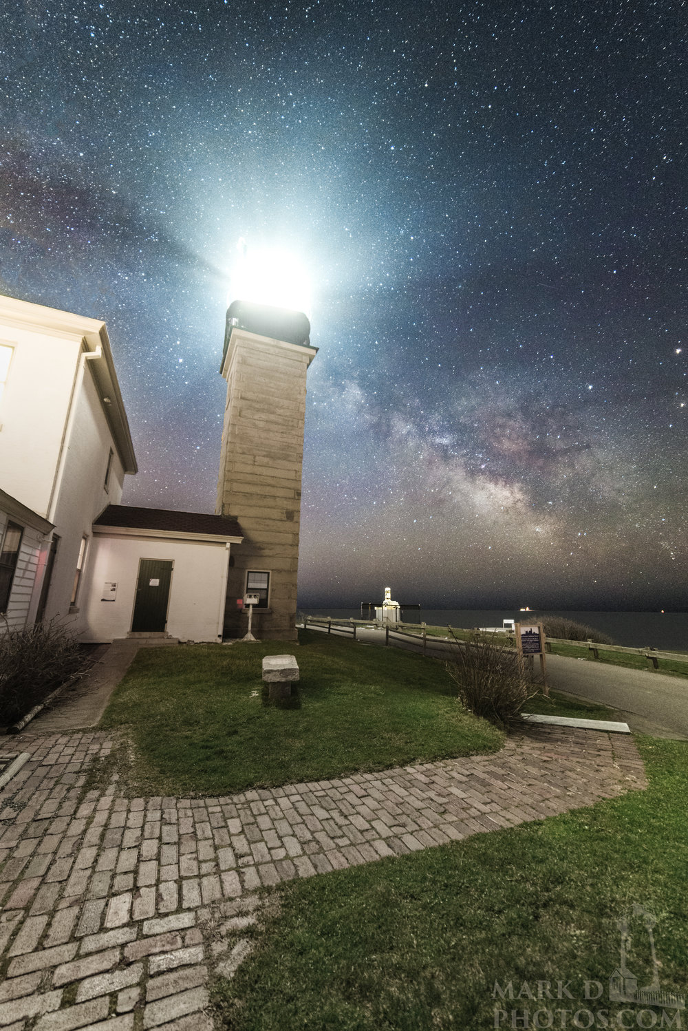 The Milky Way rises over Beavertail Light in Jamestown, Rhode Island