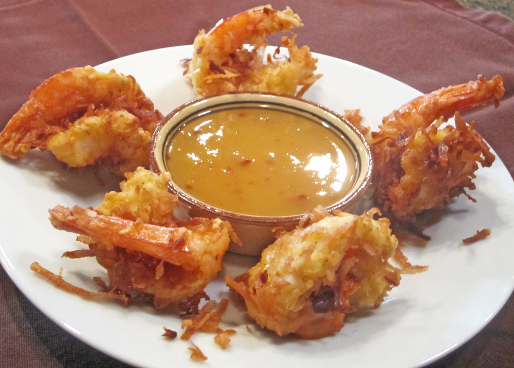 Coconut Shrimp with Pineapple Chili Sauce.