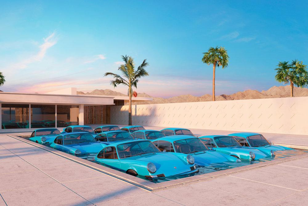 Twelve Porsche 911 Carrera RS in a pool