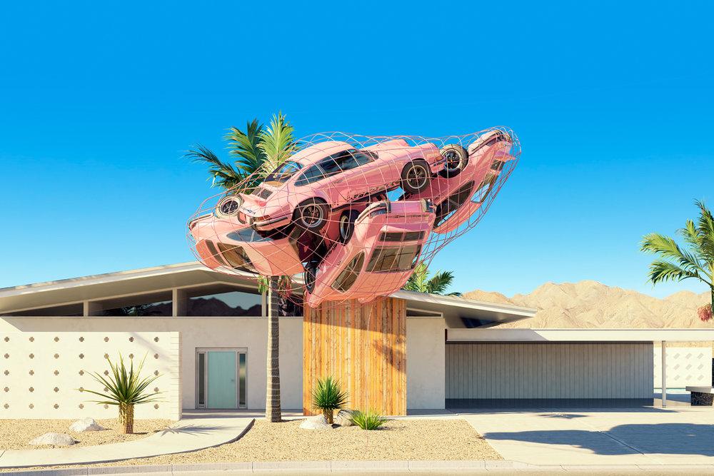 Four Pink Porsche Carrera RS