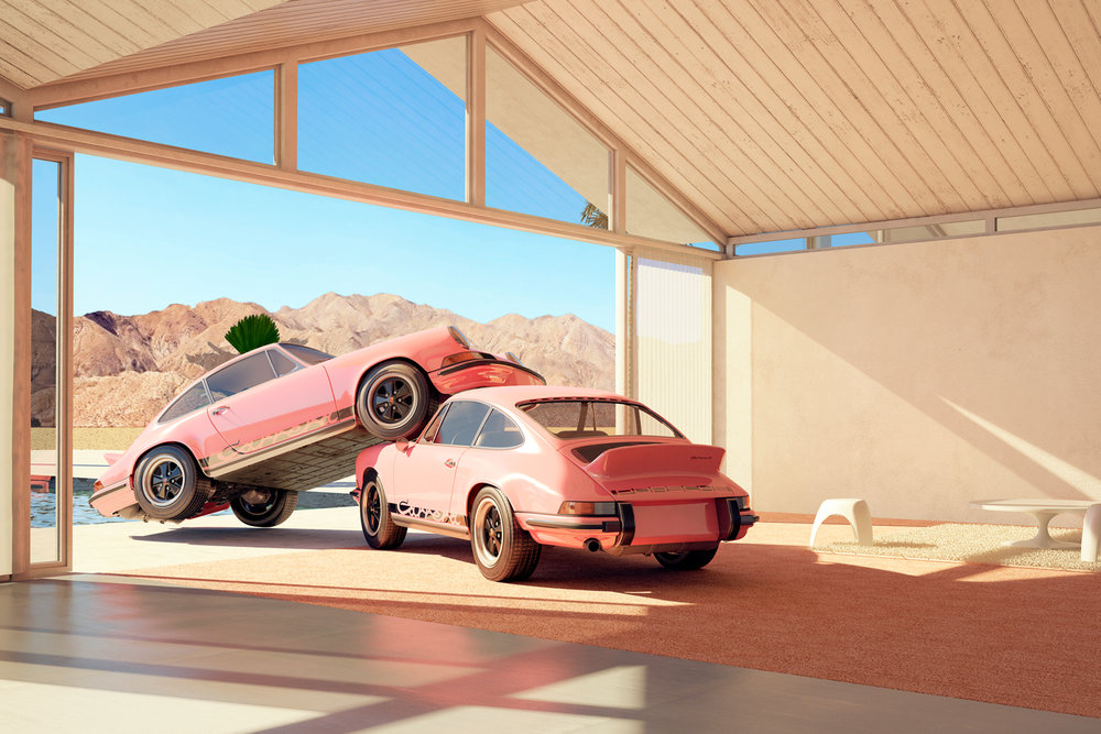 Two Pink Porsche 911 Carrera RS