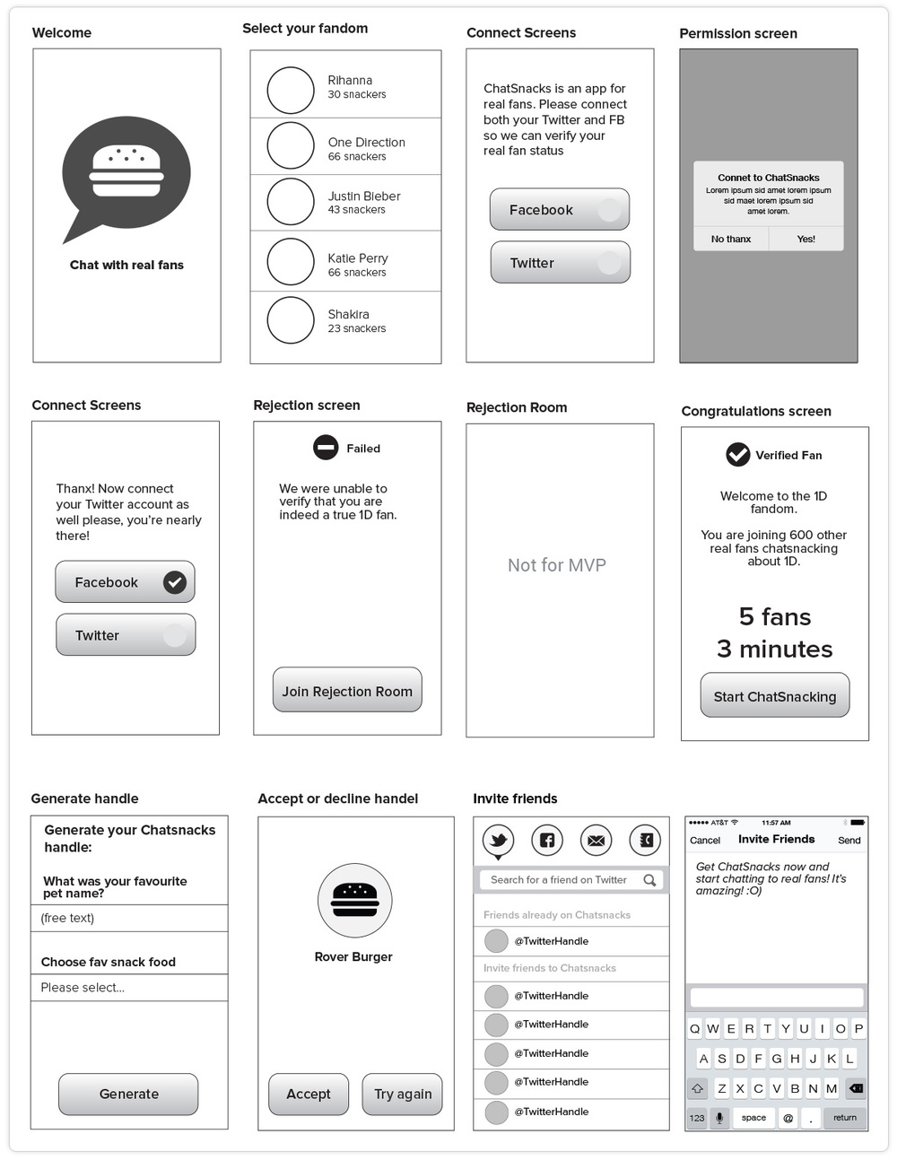 ChatSnacks Wireframes for MVP