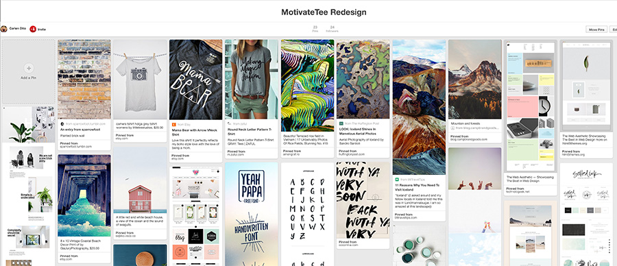 Moodboard for MotivateTee re-design