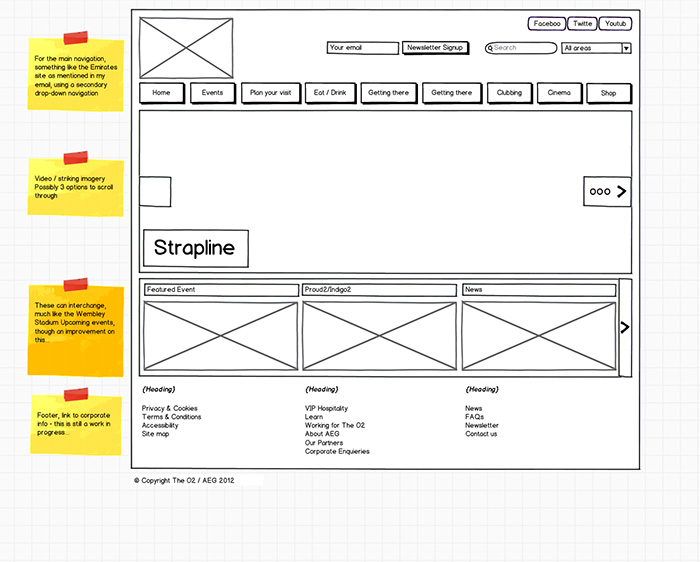 O2 website wireframe made in Balsamiq