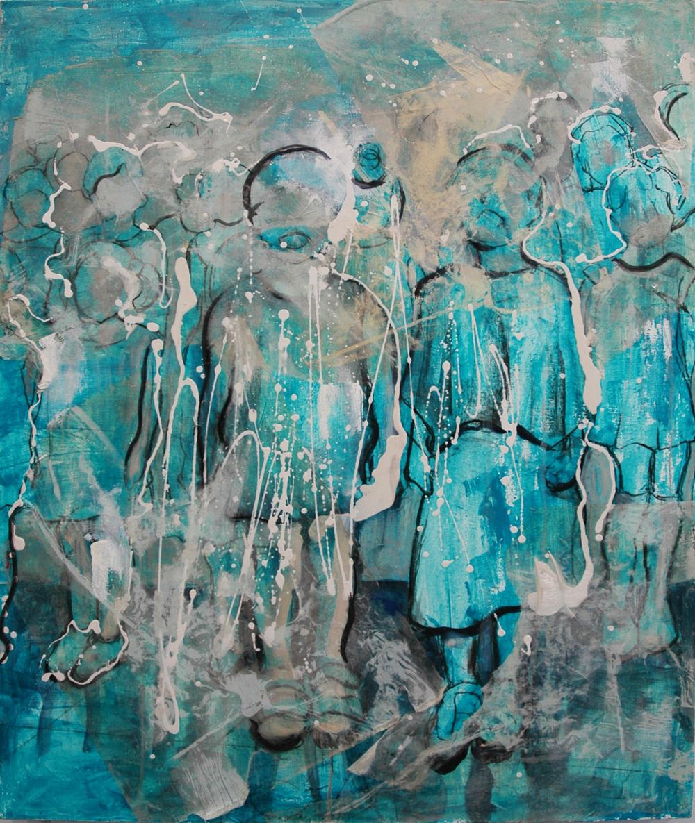 Gaze 2, Acrylic, oil, silkscreen collage on linen, 40x48 inches, 2014