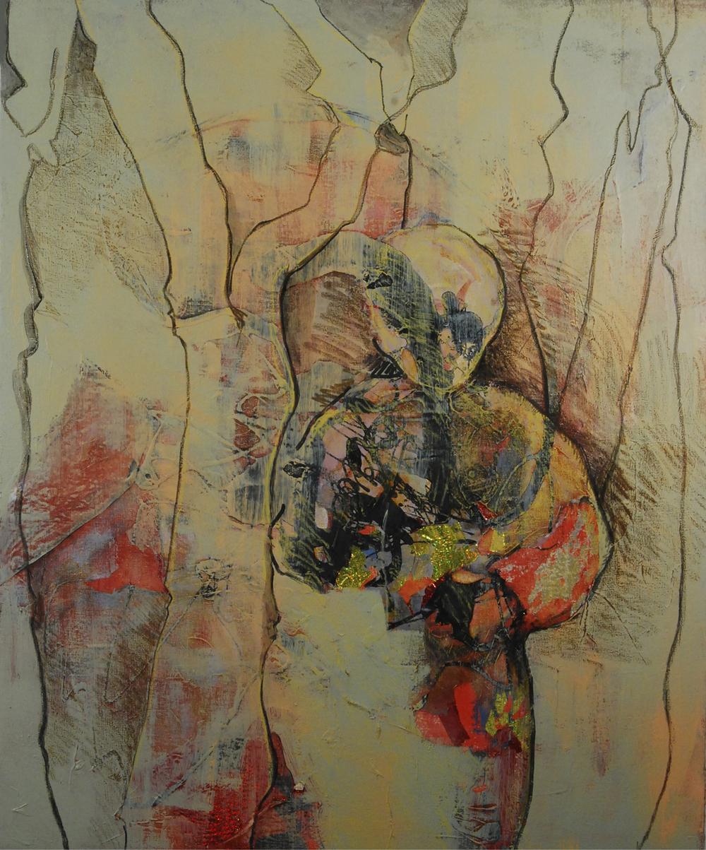 Gaze 3, Acrylic, enamel paint, paper collage on linen, 40x48 inches, 2014