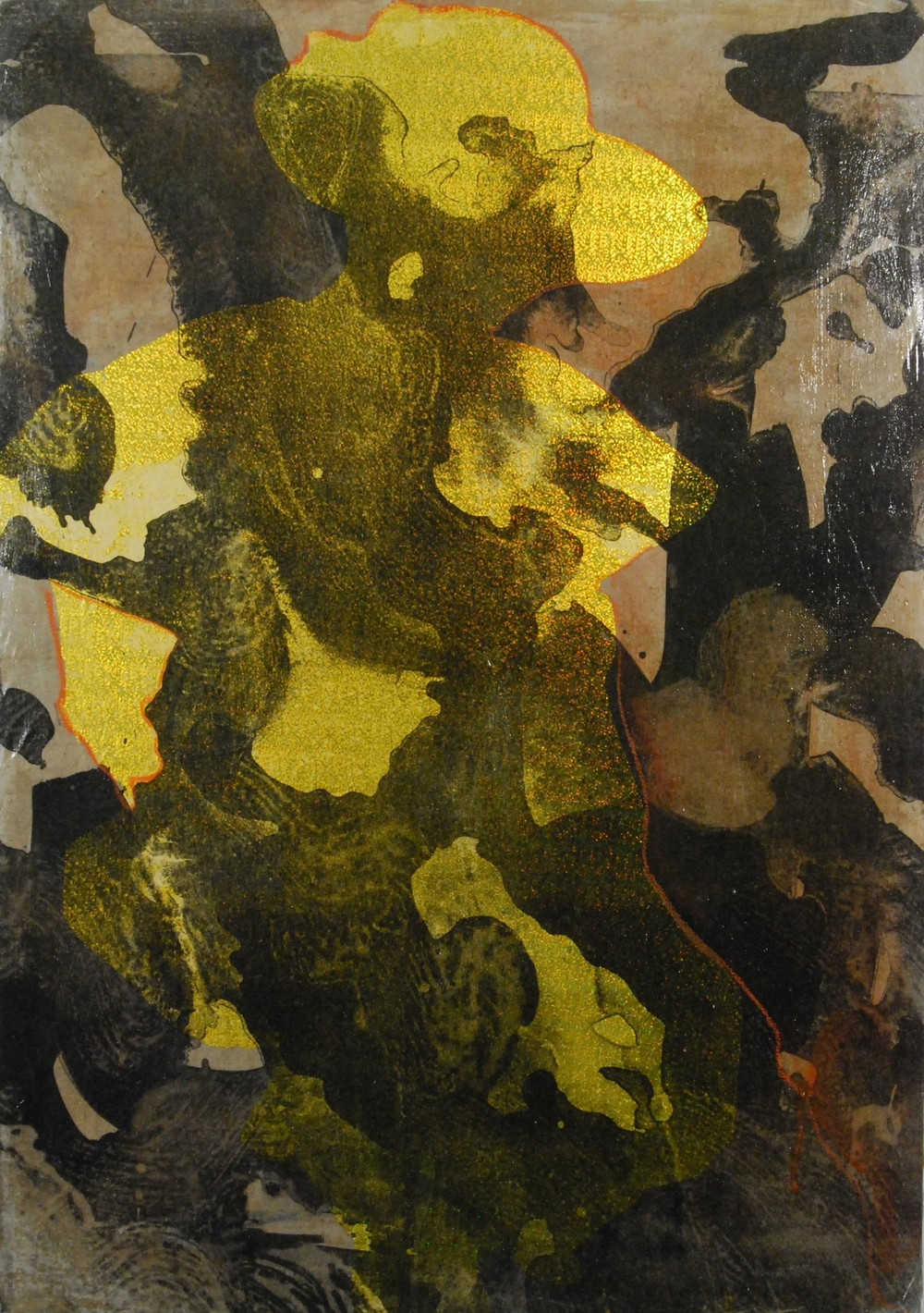 Gold, Stone lithograph and paper collage on linen, 34x24 inches, 2014
