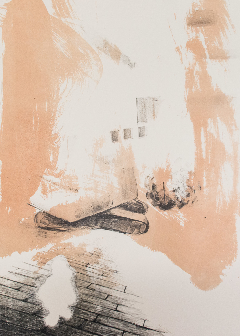 Departure , stone lithography (石板画), 22x30 inches,mono-print, 2014