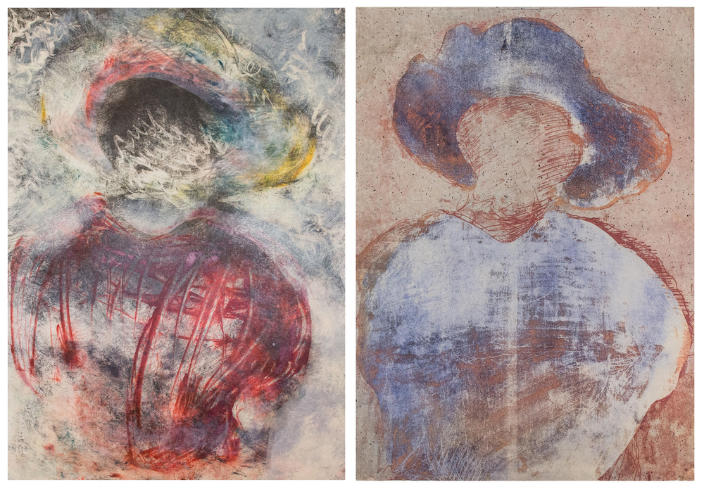 Left: monotype ; Right: Chine-colle on soft ground etching. 22x30 inches ea., 2014