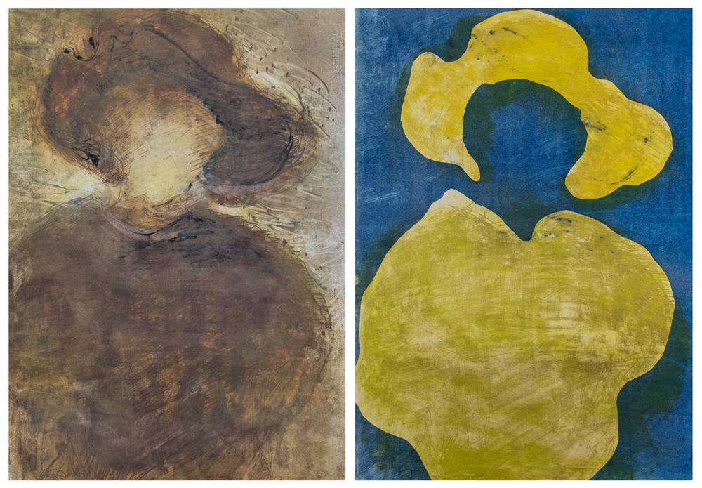 Left: monotype overlay soft ground etching ; Right: stencils on soft ground etching. 22x30 inches ea., 2014
