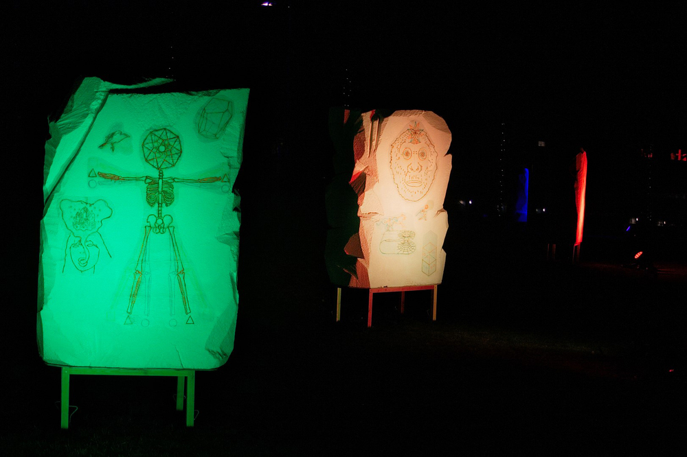 'Warning Structures'  Work created as part of Longbridge Light Festival 2014.