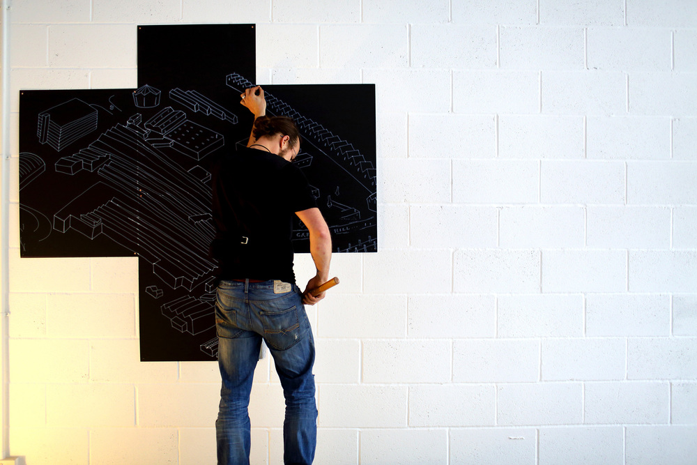 Luke Perry installing 'Map' at the LPAP | SPACE, photography by Stephen Burke