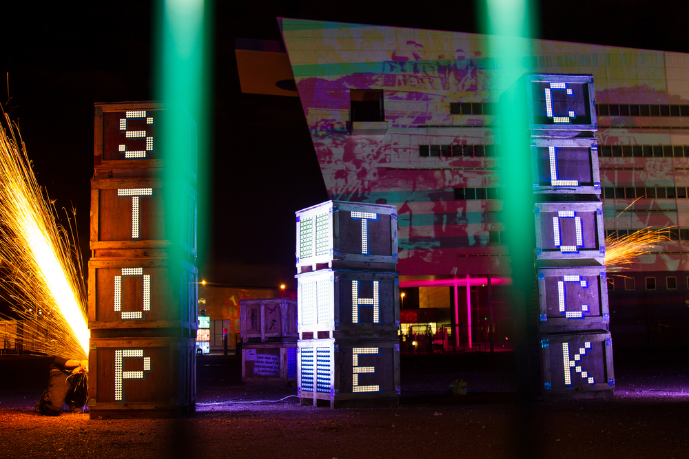 'Goods In' collaboration with Redhawk Logistica for Longbridge Light Festival 2014, photography by Pete Sloan