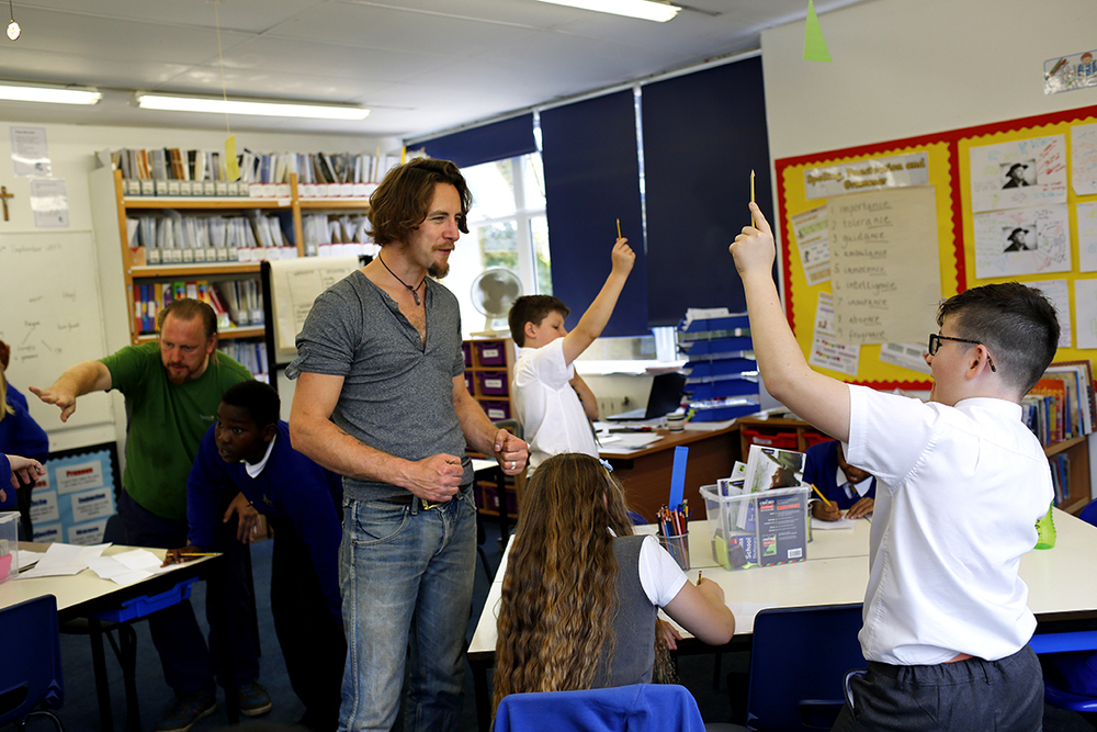 Workshop at St Columbas School with Luke Perry, photography Stephen Burke