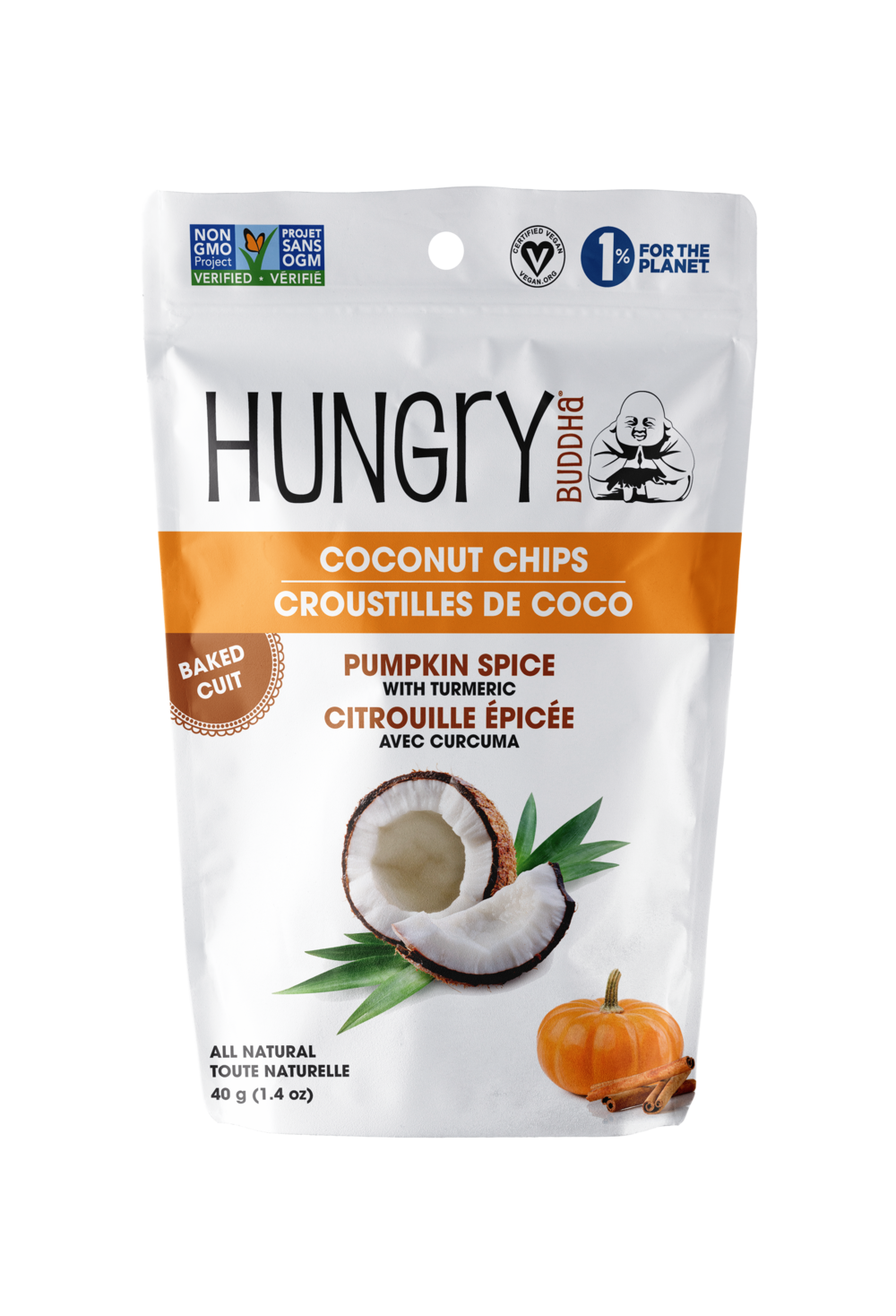 Hungry Buddha Pumpkin Spice Coconut Chips Front