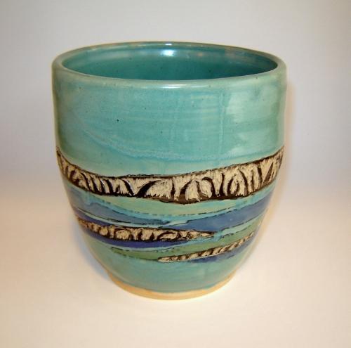 Sea Kelp Shoreline Sgraffito Vase